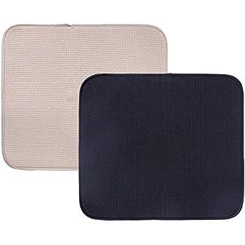 Microfiber Dish Drying Mat 41X46 Grey White Trellis Countertop Kitchen Rack Pad