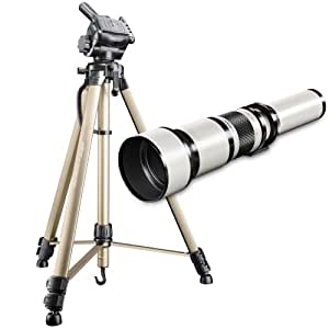 Walimex Pro 650-1300 mm 1:8-16 Telephoto Lens Nikon AF / MF and WT-3570 Camera Tripod
