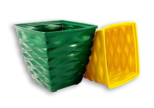 Dineshalini Multicolored Diamond Pot Garden Set of 2, Garden Container, Home Garden, Pot Indoor Pot, Outdoor Pot, Multicolor Pot, Daimond Cut, Vertical Garden Pot, Plastic Pot, Green, Yellow, Plant Stand, Flower Pot  available at amazon for Rs.149