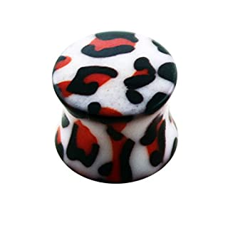 4MM Dalmatian Pattern UV Acrylic Double Flared Gauge Ear Plug Piercing