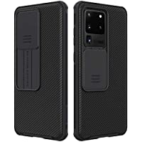 Funda para Samsung Galaxy S20 Ultra 5G Carcasa Protección de la Cámara, E-Lush Cubierta Cámara Deslizante Estuche Delgado Híbrido Parachoques Rígida PC Funda Anti-Arañazos Caso Cover, Negro