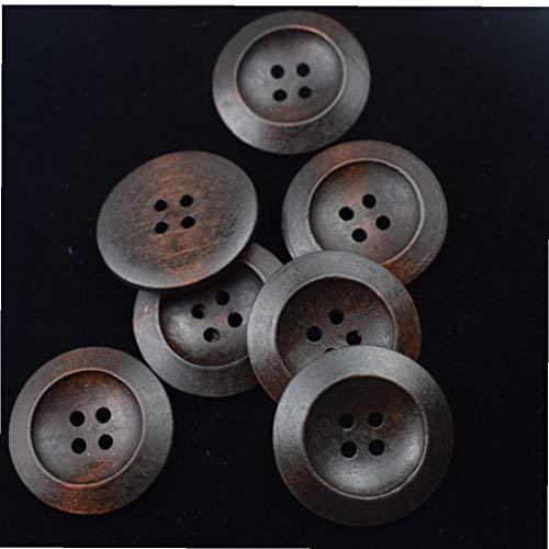 10 pezzi di legno rotondo di cucito dei tasti di legno per articoli etnici brown 4 fori fai te
