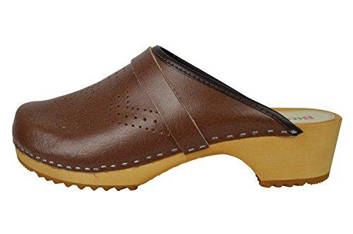Buxa Unisex Holz und Leder Einfach Clogs mit Loch Design Braun