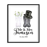 mr and mrs wellies, personalised wellington boot prints, from children, Personalised wedding gift, 6 sizes available