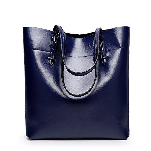 Frauen Handtaschen Mode Handtaschen Für Frauen Einfache PU Leder SchultertaschenTote Taschen Blue