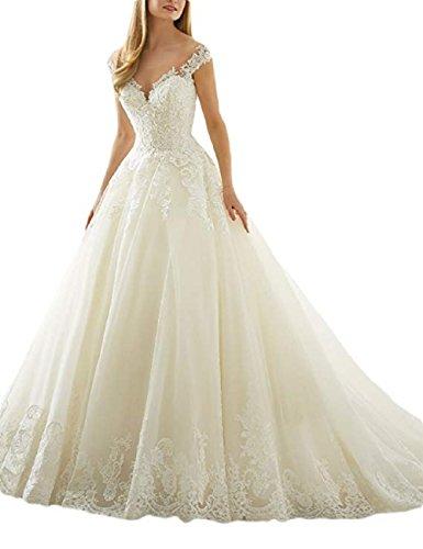 Frauen A-Line Liebsten V-Ausschnitt Tüll Spitze Applique Brautkleid Braut Ballkleid für die Braut (Bodenlangen Chiffon-applique)