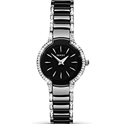 Seksy by Sekonda Entice Ladies Black Dial Ceramic Stone Set Bracelet Watch 2380