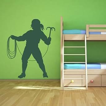 Pirate corde chambre d enfants nursery art mural stickers 01 - 60cm Hauteur - 24cm Largeur - noir vinyle