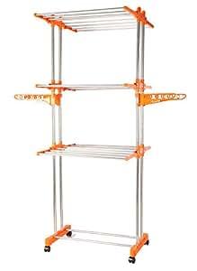 BMS Lifestyle 2-Pole Steel Drying Rack, Orange