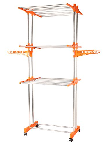 BMS Lifestyle 2-Pole Steel Drying Rack, Orange