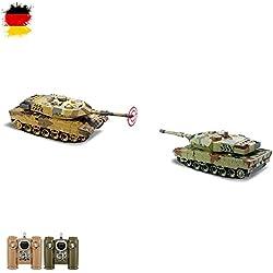 Batlle Juego 2x German Leopard RC 2.4GHz Mini tanque teledirigido con Lucha, disparos Simulación, combate,, Juego Completo)