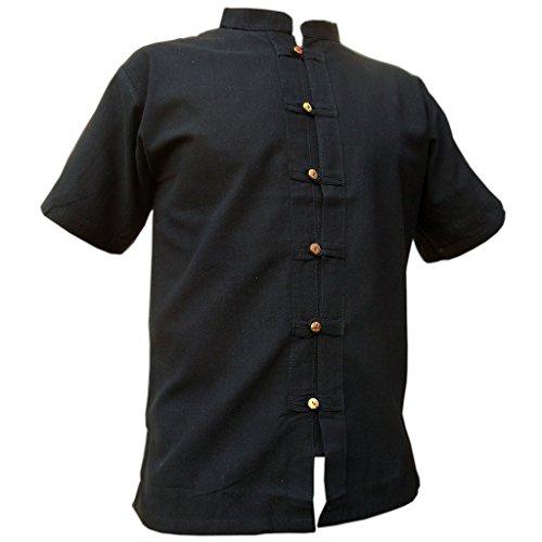 4191k7K4VpL - PANASIAM Fisherman Hemd, in 3 Farbtönen, in 4 Größen: M, L, XL, XXL & XXXL, Aus 100% Feiner natürlicher Baumwolle, mit Holzknopfleiste, in Guter Qualität