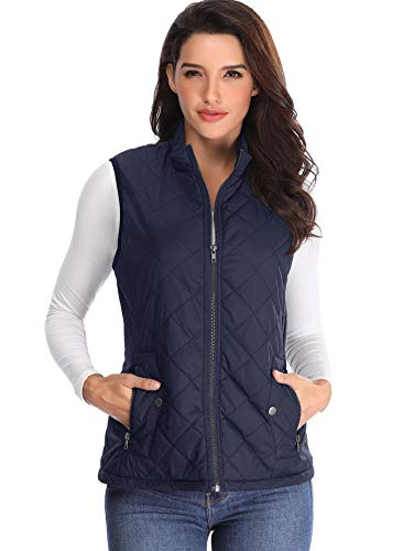 Womens Weste Gepolsterte Jacken Leichte Gilet Stehkragen Blaue Jacke Reißverschlusstaschen Packable ärmellose Keine Kapuze - L