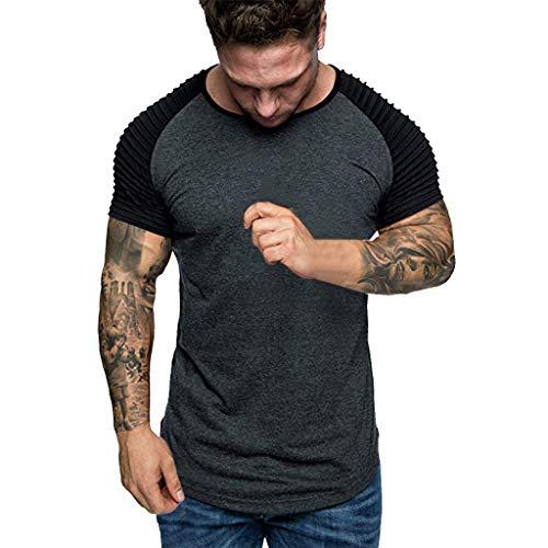MRULIC Herren Sommer T-Shirt Rundhals Slim Fit Moderner Männer T-Shirt Kurzarm Lang Sporthemd Sweatshirt(B-Schwarz,3XL)