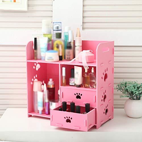 Encounter-B Mini Aufbewahrungsschrank Desktop Kosmetische Aufbewahrungsbox Cartoon niedlich Badezimmer Regal Lagerregal sinken Schminktisch Aufbewahrungsbox Regal,PinkA - Wicker Regal Korb
