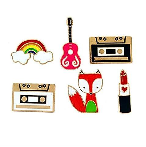 Fengteng 6 Stück Unisex Vintage Brosche Set Kassette Gitarre Regenbogen Lippenstif Fuchs Form Broschen Metall Abzeichen Anstecknadel Pin für Kleider Taschen Kragen