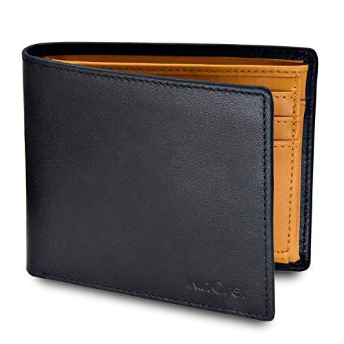 WinCret Piel Carteras para Hombre con Monedero y RFID Bloqueo - Billetera Hombre con 8 Ranuras para Tarjeta de película