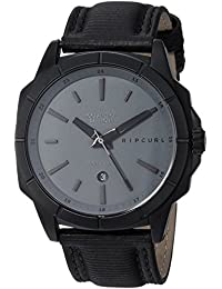 Rip Curl Men's Quartz Stainless Steel and Leather Sport Watch, Color:Black (Model: A3085DSH1SZ)