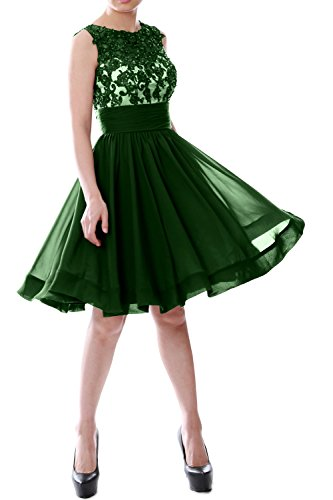 MACloth Women Beaded Lace Chiffon Short Prom Formal Dress Cocktail Party Gown Dark Green