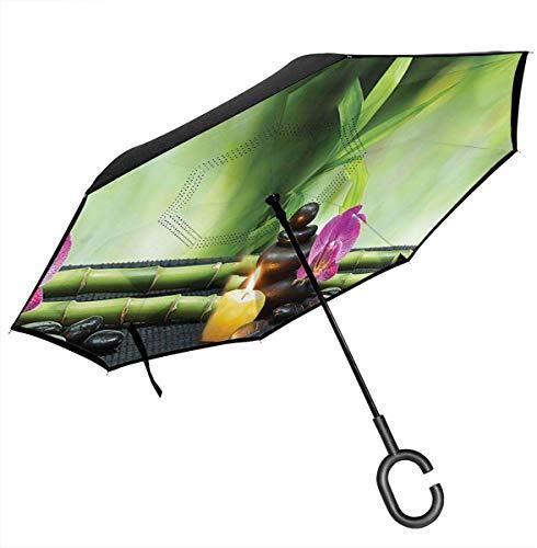 Ombrello invertito doppio strato, fiori di bambù e candele Auto Ombrello inverso Protezione UV Ombrello antivento per auto pioggia all'aperto
