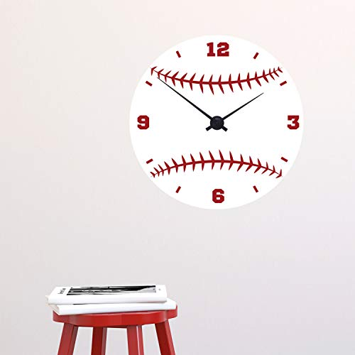 CLIFFBENNETT Cliffbennet Baseball-Uhr - Sport - Vinyl-Wand-Aufkleber für Sport-Fans, Schulen, Schließfächer, Häuser, Kinderzimmer