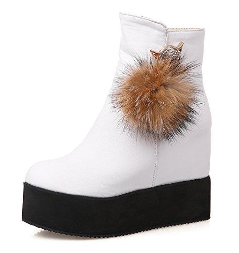 571a513726327a YE Damen Wedges Plateau High Heels Stiefeletten mit Keilabsatz  Reißverschluss 8cm Absatz Ankle Boots Weiß