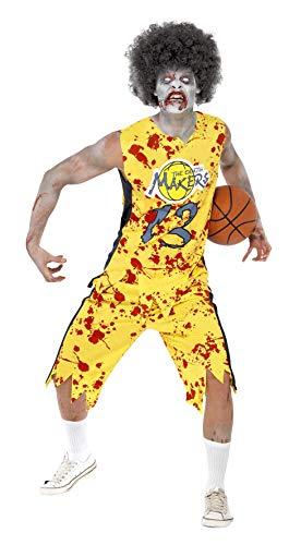Zombie Basketball Kostüm - Smiffys, Herren Zombie-Basketball-Spieler Kostüm, Oberteil und Shorts, Größe: M, 40063