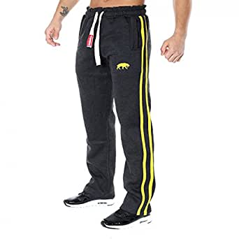 SMILODOX Jogginghose Herren | Trainingshose für Sport Fitness Gym Training & Freizeit | Sporthose - Jogger Pants - Sweatpants Hosen - Freizeithose Lang, Farbe:Anthrazit/Gelb, Größe:S