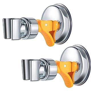 2 Pack Adjustable Shower Head Holder Bathroom Suction Cup Handheld Shower Head Holder Height Shower Head Mounting Bracket Plastic ABS with Chrome Polished