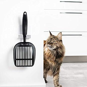 Mr. Ollie Pelle à litière pour Chats antiadhésive en métal avec Support Pelle à litière de Toilettes pour Chats - Grande Litière pour Chats - Bac à litière de Chat pour Toilettes by