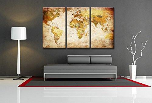 Visario Quadro su Tela Mappa del Mondo 120 x 80 cm 3 Tele Modello Nr XXL 4401
