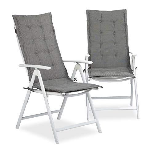 Relaxdays Juego de Cojines para Exterior, Poliéster, Gris, 3x48x120 cm
