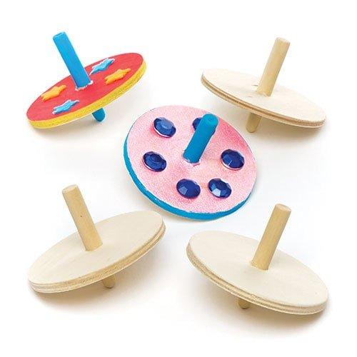 Baker ross trottole in legno per bambini - sorpresine o regali per bimbi (confezione da 6)