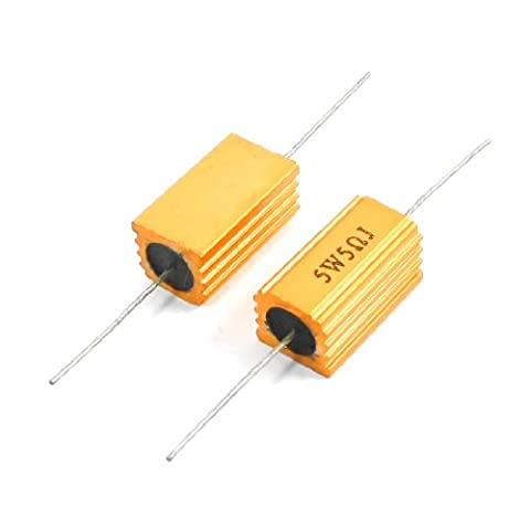 Sourcingmap 5 Ohm 5 W Axial Lead Aluminium Housed Resistor - Gold Tone (2-Piece)