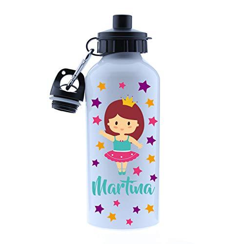 Kembilove - Cantimplora Infantil Personalizada - Botella de Aluminio Personalizada con el Nombre del Niño o Niña - Capacidad 500 ml peques - Cantimplora Bailarina