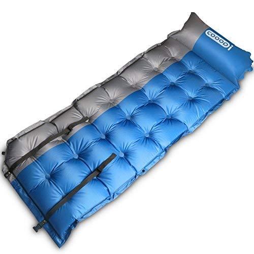 Selbstaufblasende Camping Pads von cooodi, Camp Pad Matte Matratze, aufblasbarer Schlafsack Air Matte mit Kissen für Camping, Rucksackreisen, Zelte, Reisen, Wandern, blau -