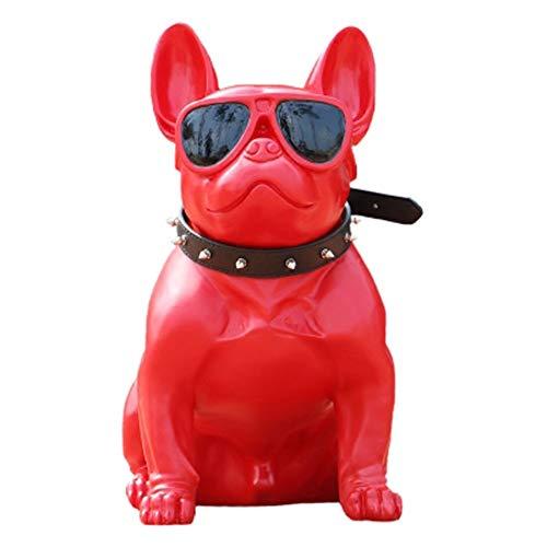 SUP-MANg Sitzende französische Bulldoggen-Skulptur-hohe Haustier-Hunderasse-sammelbare Harz-Dekor-Figur (Color : Red) -
