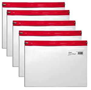 Snopake A4 325 x 235 mm Zippa Bag 'S' with Zip Strip - Transparent/Red (Pack of 5)