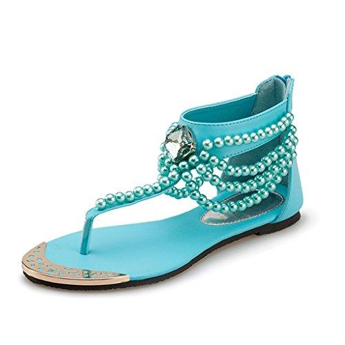ndals Frauen Sommer Strand Sandalen Perlen Hausschuhe flache Zehe Hausschuhe (Farbe : Blau, größe : 36/UK4.5/US5.5/230mm) (Uk National Kostüm Für Kinder)