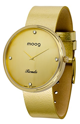 Moog Paris Ronde Vogue Women's Watch with Gold Dial, Gold Genuine Leather Strap & Swarovski Elements - M41671-B31