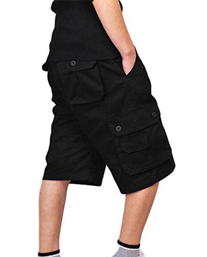 ZKOO Uomo Cargo Pantaloni Corti Shorts da uomo Cotone Bermuda Pantaloncini Outdoor Spiaggia Pantaloncini con Tasconi Laterali Nero