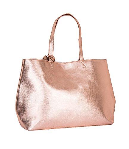 SIX - Damen Handtasche, Tragetasche, Shopper, rose gold metallic, glänzend (726-162) (Kollektionen Handtaschen Leder Aus)