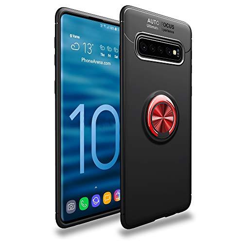 CASEWRS Hülle für Samsung Galaxy S10zurück, Ultradünne TPU Handyhülle fit weiche TPU Telefon Abdeckung Schutz mit fingerring Halterung,Schwarz + rot