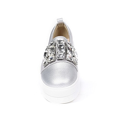 Ideal Shoes - Slip-on en similicuir avec bande élastique incrustée de strass Aurelina Argent