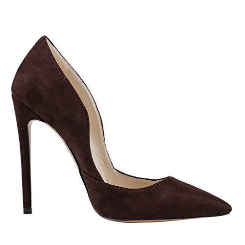EKS Damen Spitze High Heels Kleid-Partei Pumps Dark Braun-Wildleder