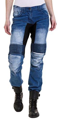 Qaswa Damen Motorradhose Jeans Motorrad Hose Motorradrüstung Schutzauskleidung Motorcycle Biker Pants, W30-L29, Blue - Panel Protector