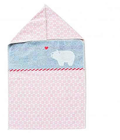 Baby Blanket with Hooded Polar Bear Pink 45x76cm David Fussenegger