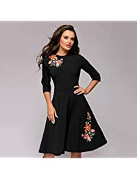 96405372a7e9 JJHR Dress Abito A-Line Moda Appliques Vestito Nero Sottile per Le Donne  Elegante Abito