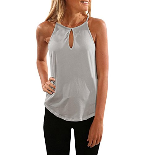 ESAILQ Débardeur Femme Basic Sans manches Coton +Polyester Long Tank Top Maillot de Corps Halter T-Shirt Vest Bustier Kaki