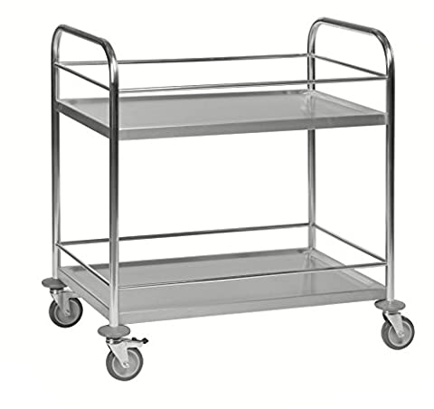 Stainless Steel Serving Cart with 2 Shelves, Class C2 Sturdy Stainless Steel 18/0 Stainless Steel Trolley
